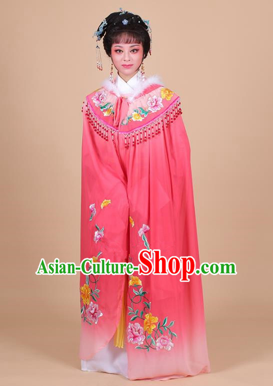Traditional China Beijing Opera Young Lady Hua Tan Costume Female Embroidered Cloak, Ancient Chinese Peking Opera Diva Embroidery Pink Mantle Clothing