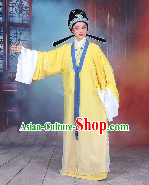 Traditional China Beijing Opera Niche Costume Gifted Scholar Embroidered Robe and Headwear, Ancient Chinese Peking Opera Embroidery Yellow Clothing