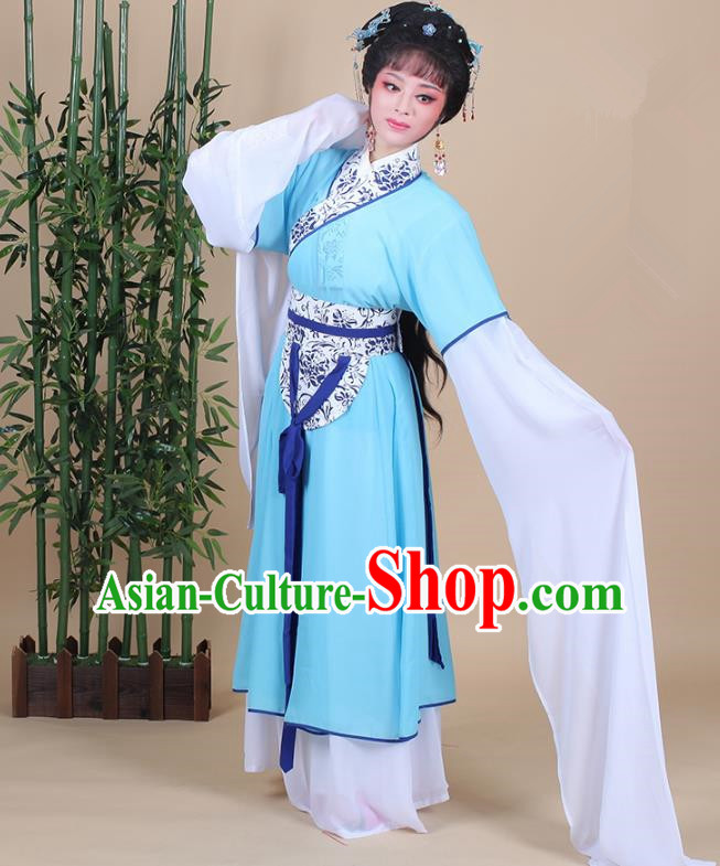 Traditional China Beijing Opera Young Lady Hua Tan Costume Female Blue Clothing, Ancient Chinese Peking Opera Diva Embroidery Dress