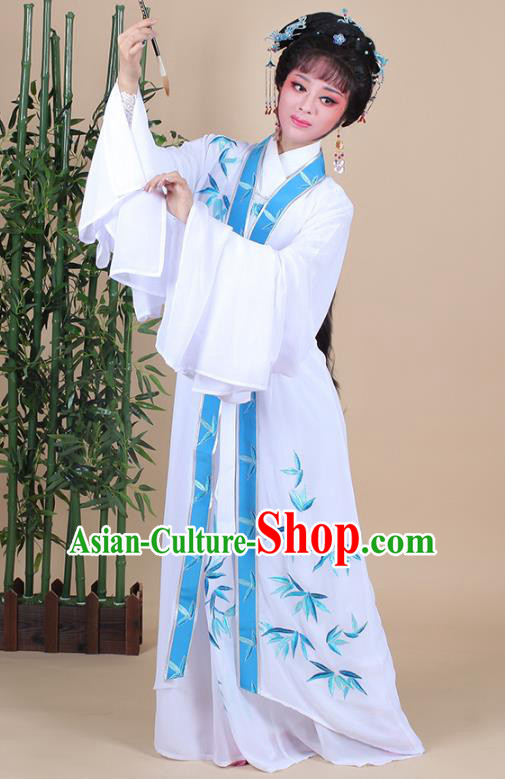 Traditional China Beijing Opera Young Lady Hua Tan Costume Female Dance Clothing, Ancient Chinese Peking Opera Diva Embroidery Bamboo Leaf Dress
