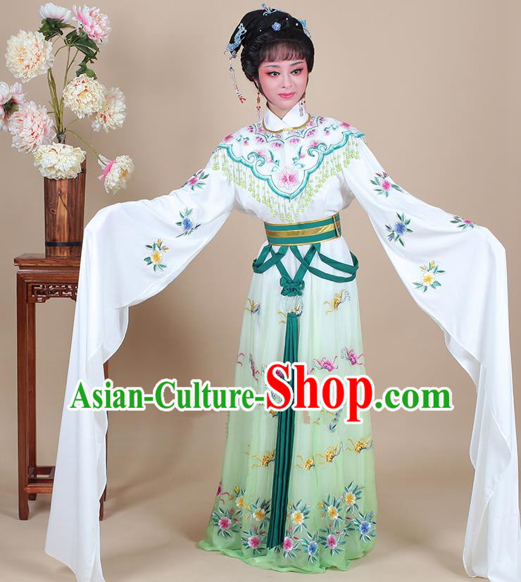 Traditional China Beijing Opera Young Lady Hua Tan Costume Female Princess Clothing, Ancient Chinese Peking Opera Diva Embroidery Green Dress