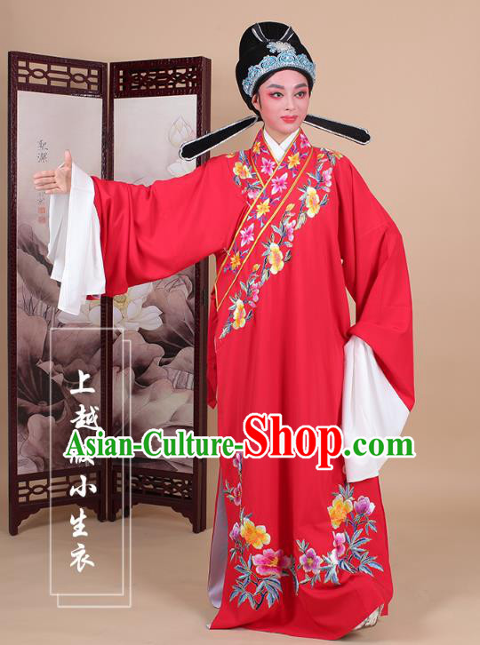 Traditional China Beijing Opera Niche Costume Lang Scholar Embroidered Red Robe and Headwear, Ancient Chinese Peking Opera Embroidery Clothing