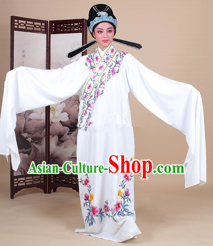 Traditional China Beijing Opera Niche Costume Lang Scholar Embroidered White Robe and Headwear, Ancient Chinese Peking Opera Embroidery Clothing