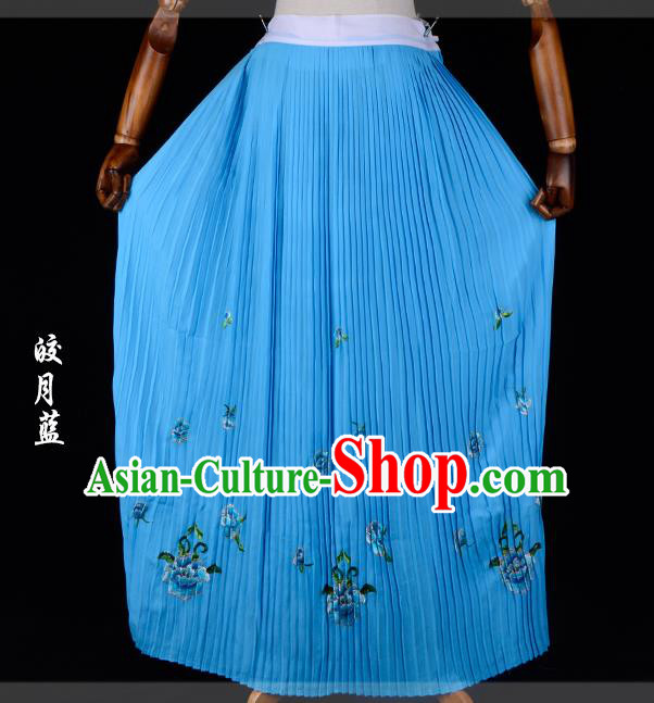 Traditional China Beijing Opera Young Lady Hua Tan Costume Female Embroidered Deep Blue Pleated Skirt, Ancient Chinese Peking Opera Diva Embroidery Peony Dress Bust Skirt