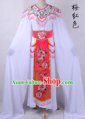 Traditional China Beijing Opera Young Lady Hua Tan Costume Cloud Shoulder Embroidered Clothing, Ancient Chinese Peking Opera Diva Embroidery Peach Pink Dress Clothing