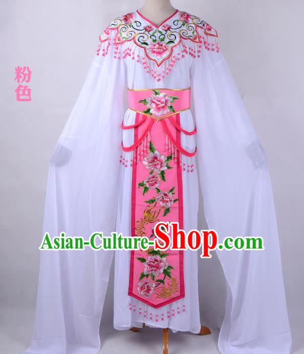 Traditional China Beijing Opera Young Lady Hua Tan Costume Cloud Shoulder Embroidered Clothing, Ancient Chinese Peking Opera Diva Embroidery Pink Dress Clothing
