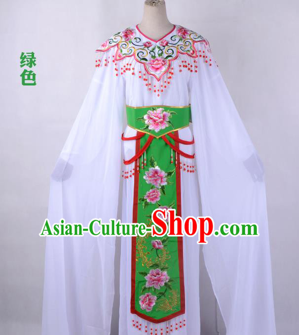 Traditional China Beijing Opera Young Lady Hua Tan Costume Cloud Shoulder Embroidered Clothing, Ancient Chinese Peking Opera Diva Embroidery Green Dress Clothing