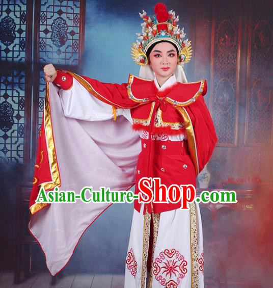 Traditional China Beijing Opera Swordplay Costume Embroidered Clothing and Cloak, Ancient Chinese Peking Opera Blues Female General Embroidery Dress Clothing