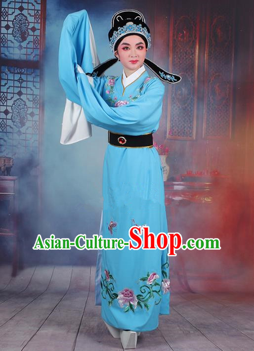Traditional China Beijing Opera Niche Costume Lang Scholar Embroidered Blue Robe and Headwear, Ancient Chinese Peking Opera Jia Baoyu Embroidery Clothing