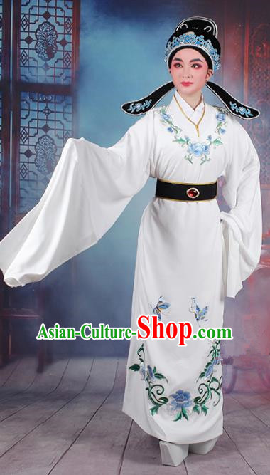 Traditional China Beijing Opera Niche Costume Lang Scholar Embroidered White Robe and Headwear, Ancient Chinese Peking Opera Jia Baoyu Embroidery Clothing