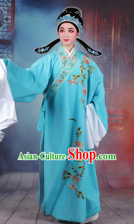 Traditional China Beijing Opera Niche Costume Lang Scholar Embroidered Blue Robe and Headwear, Ancient Chinese Peking Opera Embroidery Chrysanthemum Clothing