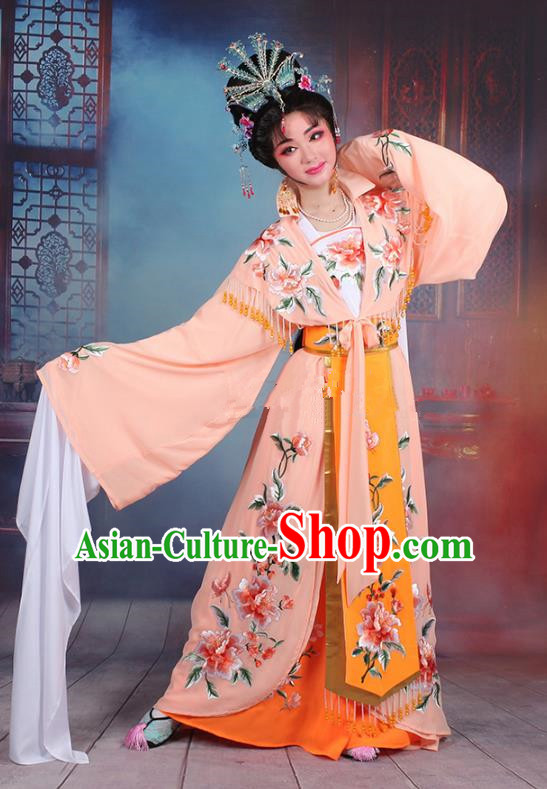 Traditional China Beijing Opera Young Lady Hua Tan Costume Imperial Concubine Orange Embroidered Cape, Ancient Chinese Peking Opera Diva Embroidery Peony Dress Clothing