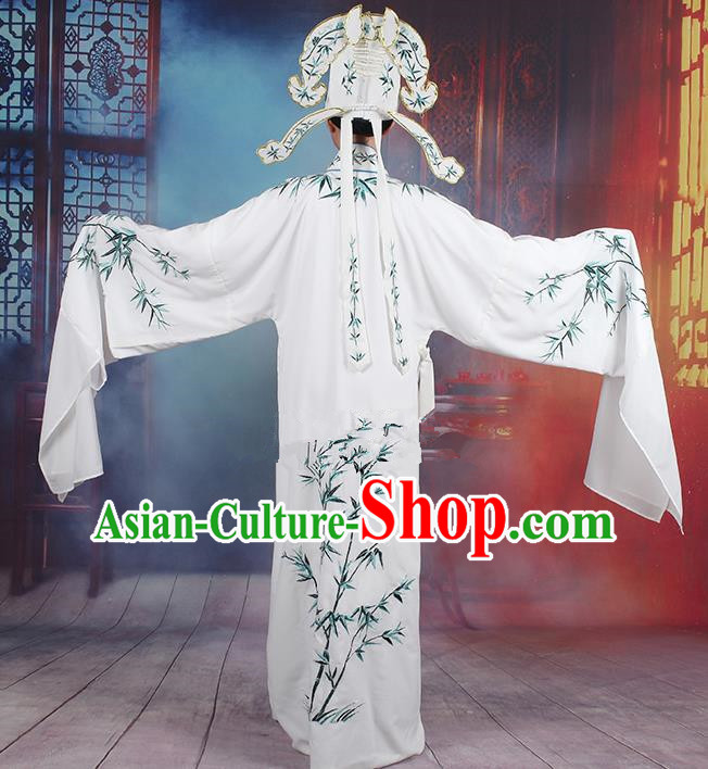 Traditional China Beijing Opera Niche Costume Gifted Scholar Embroidered Robe and Headwear, Ancient Chinese Peking Opera Embroidery Bamboo Clothing