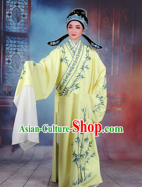 Traditional China Beijing Opera Niche Costume Gifted Scholar Yellow Embroidered Robe and Headwear, Ancient Chinese Peking Opera Embroidery Bamboo Clothing
