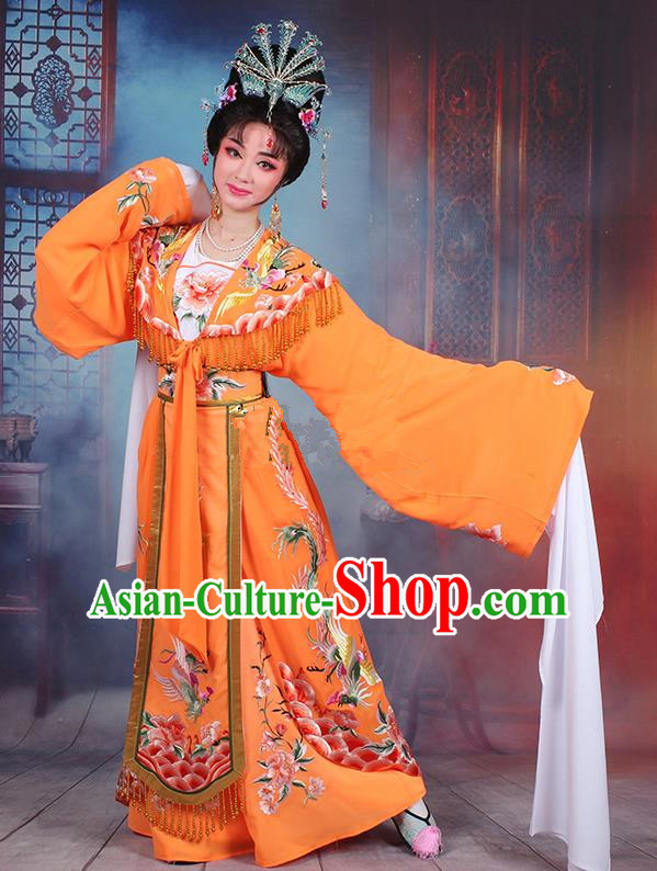 Traditional China Beijing Opera Young Lady Hua Tan Costume Diva Orange Embroidered Cape, Ancient Chinese Peking Opera Imperial Concubine Embroidery Dress Clothing