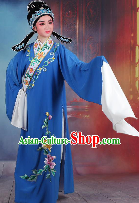 Traditional China Beijing Opera Young Men Costume Lang Scholar Royalblue Embroidered Robe, Ancient Chinese Peking Opera Niche Embroidery Clothing