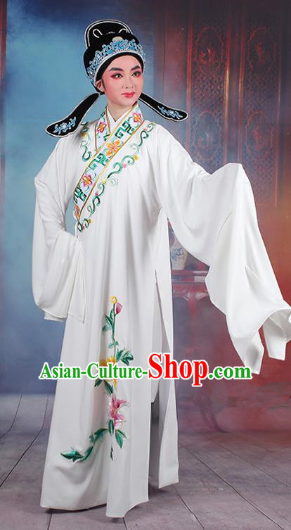 Traditional China Beijing Opera Young Men Costume Lang Scholar White Embroidered Robe, Ancient Chinese Peking Opera Niche Embroidery Clothing