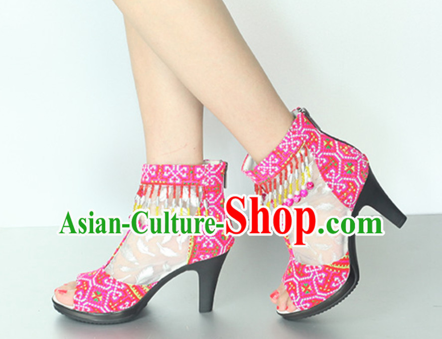Handmade Hmong Women Minority Shoes Miao Ethnic Shoes