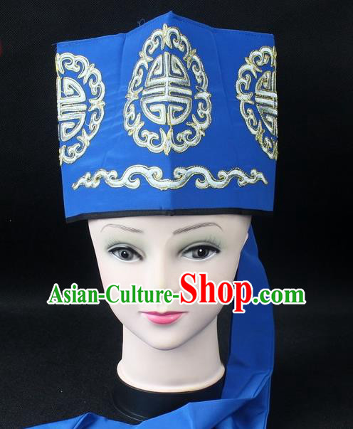 Traditional China Beijing Opera Hair Accessories Lao-Sheng Hat, Ancient Chinese Peking Opera Embroidery Blue Landlord Hat