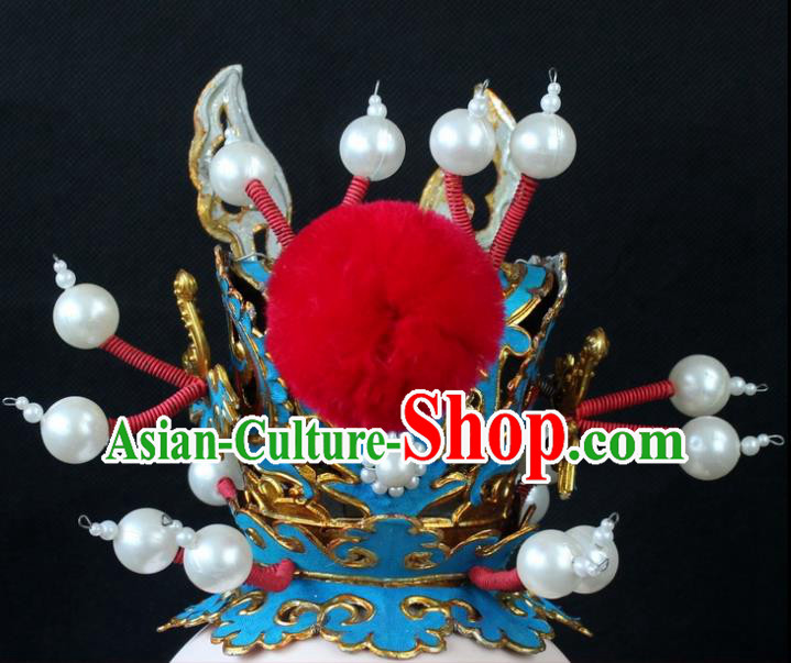 Traditional China Beijing Opera Lang Scholar Niche Tuinga, Ancient Chinese Peking Opera Crown Prince Red Venonat Headwear