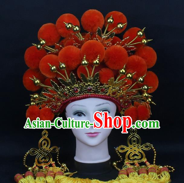 Traditional China Beijing Opera Young Lady Hair Accessories Female General Helmet, Ancient Chinese Peking Opera Swordplay Orange Venonat Headwear