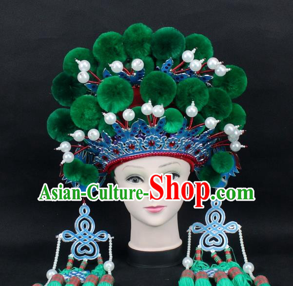 Traditional China Beijing Opera Young Lady Hair Accessories Female General Helmet, Ancient Chinese Peking Opera Swordplay Green Venonat Headwear