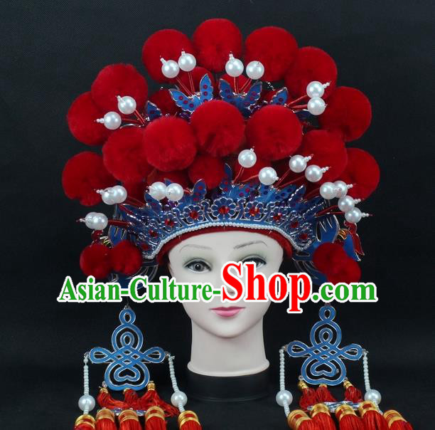 Traditional China Beijing Opera Young Lady Hair Accessories Female General Helmet, Ancient Chinese Peking Opera Swordplay Red Venonat Headwear