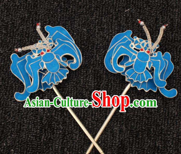 Traditional China Beijing Opera Young Lady Hair Accessories Bat Hairpins, Ancient Chinese Peking Opera Hua Tan Diva Headwear