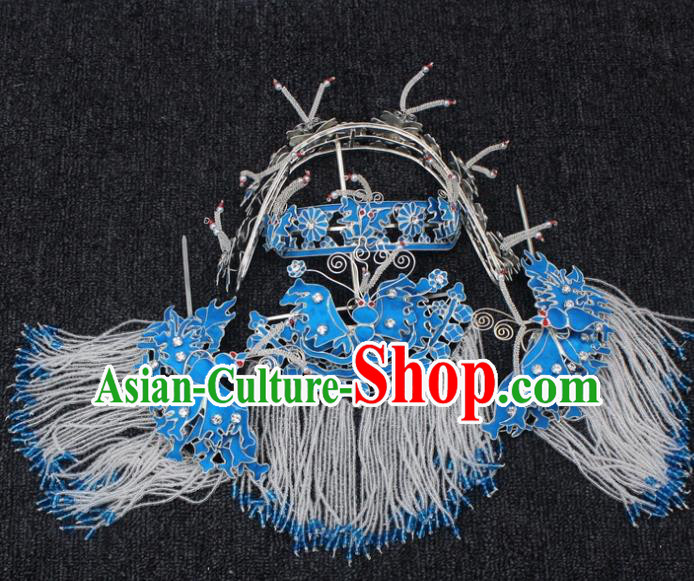 Traditional China Beijing Opera Young Lady Hair Accessories Head-ornaments, Ancient Chinese Peking Opera Hua Tan Diva Hairpins Complete Set
