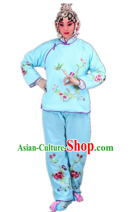 Traditional China Beijing Opera Young Lady Hua Tan Costume Maidservants Embroidered Blue Clothing, Ancient Chinese Peking Opera Diva Embroidery Dress Clothing
