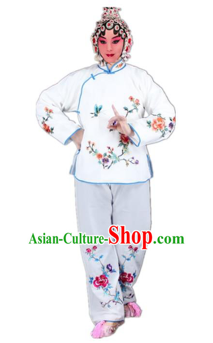 Traditional China Beijing Opera Young Lady Hua Tan Costume Maidservants Embroidered White Clothing, Ancient Chinese Peking Opera Diva Embroidery Dress Clothing