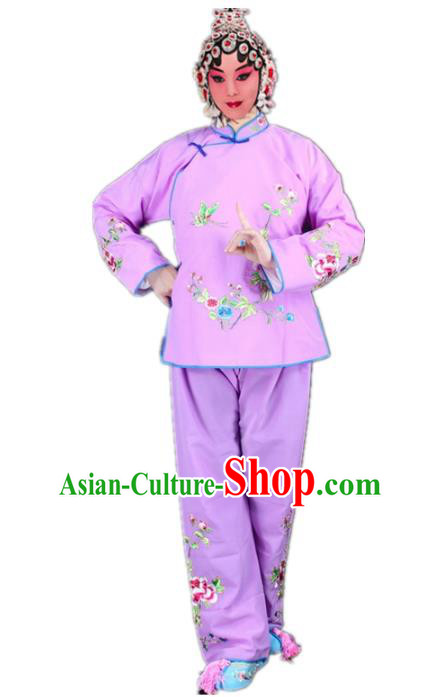 Traditional China Beijing Opera Young Lady Hua Tan Costume Maidservants Embroidered Purple Clothing, Ancient Chinese Peking Opera Diva Embroidery Dress Clothing