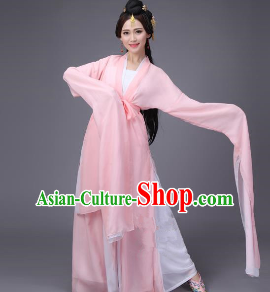 Traditional Ancient Chinese Princess Dance Costume, Elegant Hanfu Clothing Chinese Water Sleeve Dance Pink Dress Clothing for Women