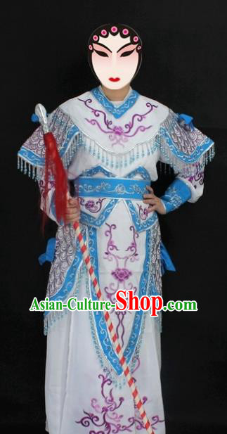 Traditional China Beijing Opera Swordplay Costume White Embroidered Clothing, Ancient Chinese Peking Opera Blues Embroidery Dress Clothing