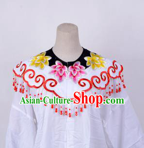 Traditional China Beijing Opera Young Lady Hua Tan Costume Princess Embroidered Red Cloud Shoulder, Ancient Chinese Peking Opera Diva Embroidery Cappa Clothing