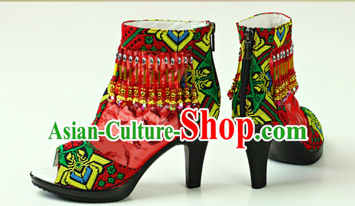 Traditional Handmade Hmong Women Minority Shoes Miao Ethnic Shoes