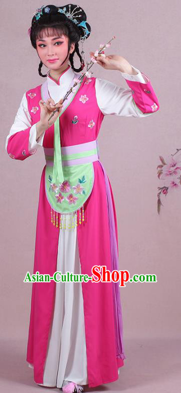 Traditional China Beijing Opera Young Lady Hua Tan Costume Servant Girl Embroidered Rosy Clothing, Ancient Chinese Peking Opera Diva Embroidery Dress Clothing