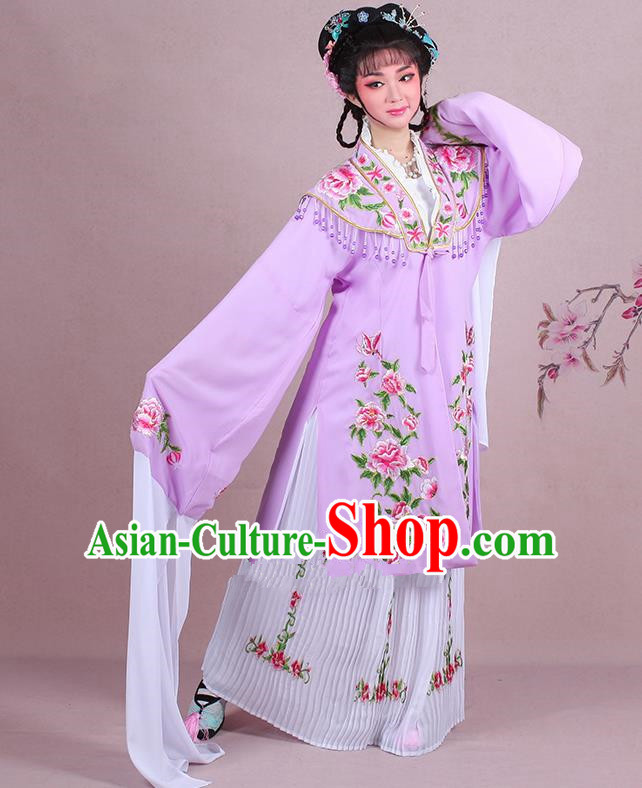 Traditional China Beijing Opera Young Lady Hua Tan Costume Embroidered Lilac Shawl, Ancient Chinese Peking Opera Diva Embroidery Dress Clothing