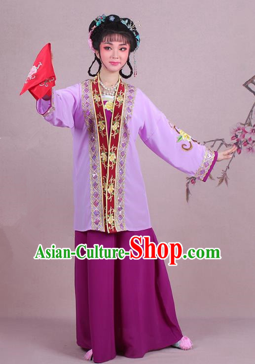 Traditional China Beijing Opera Pantaloon Costume A Dream in Red Mansions Maidservants Purple Dress, Ancient Chinese Peking Opera Dowager Embroidery Clothing