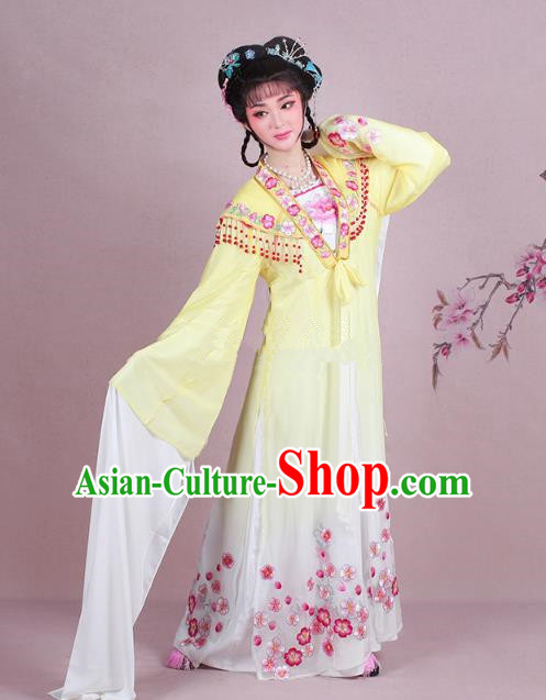 Traditional China Beijing Opera Young Lady Costume Embroidered Yellow Fairy Dress, Ancient Chinese Peking Opera Diva Embroidery Plum Blossom Clothing