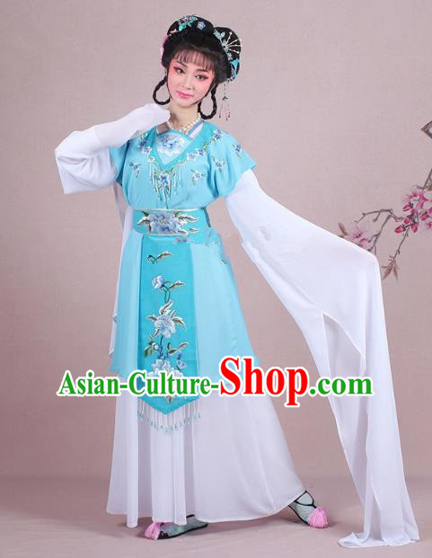 Traditional China Beijing Opera Young Lady Costume Embroidered Blue Servant Girl Dress, Ancient Chinese Peking Opera Diva Embroidery Peony Clothing