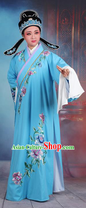 Traditional China Beijing Opera Niche Costume Gifted Scholar Deep Blue Embroidered Robe and Hat, Ancient Chinese Peking Opera Young Men Embroidery Peony Clothing
