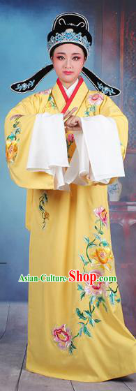 Traditional China Beijing Opera Niche Costume Gifted Scholar Yellow Embroidered Robe and Hat, Ancient Chinese Peking Opera Young Men Embroidery Peony Clothing