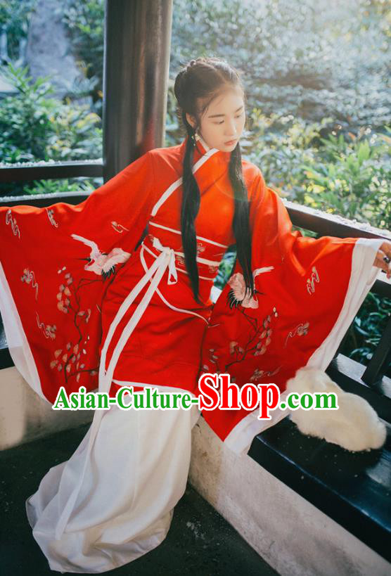 Traditional Chinese Han Dynasty Young Lady Costume, Elegant Hanfu Clothing Chinese Ancient Princess Curve Bottom Dress Clothing