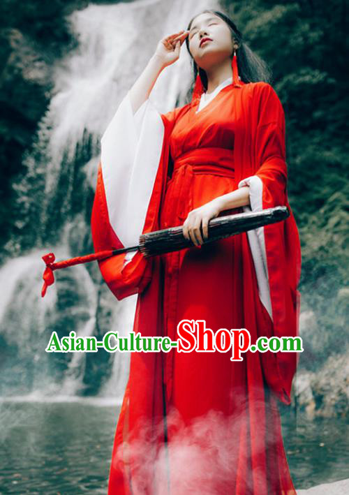 Traditional Chinese Han Dynasty Chivalrous Woman Costume, Elegant Hanfu Clothing Chinese Ancient Swordswoman Red Dress Clothing