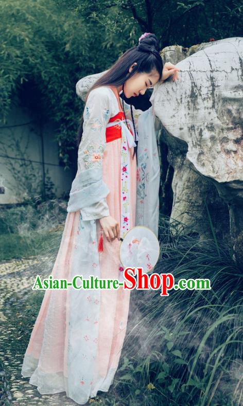 Traditional Chinese Tang Dynasty Princess Dance Costume, Elegant Hanfu Clothing Chinese Ancient Young Lady Embroidery Dress Clothing