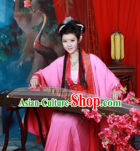 Traditional Chinese Tang Dynasty Imperial Princess Peri Costume, Elegant Hanfu Clothing Chinese Ancient Fairy Rosy Dress Clothing