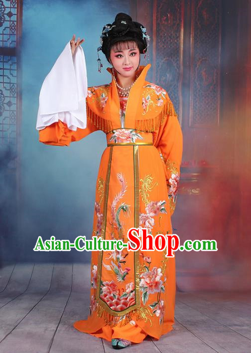 Traditional China Beijing Opera Palace Lady Hua Tan Costume Orange Embroidered Dress, Ancient Chinese Peking Opera Diva Senior Concubine Embroidery Peony Clothing