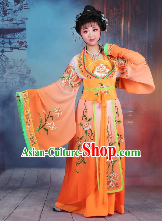 Traditional China Beijing Opera Palace Lady Hua Tan Costume Orange Embroidered Dress, Ancient Chinese Peking Opera Diva Princess Embroidery Clothing