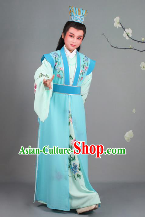 Traditional China Beijing Opera Niche Costume Gifted Scholar Embroidered Robe and Headwear, Ancient Chinese Peking Opera Young Men Embroidery Clothing